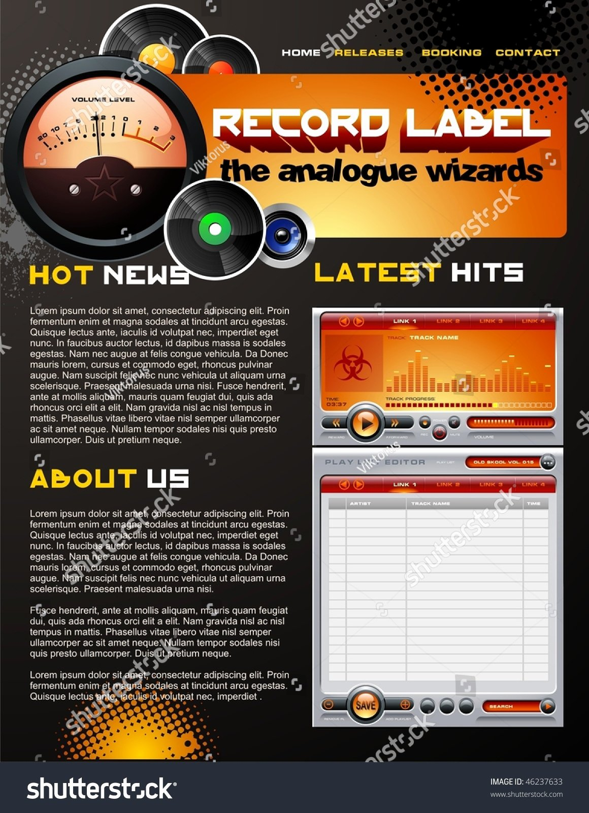 Record Label Web Template Best Of Record Label Web Design Template Stock Vector Illustration