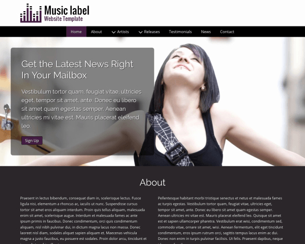 Record Label Web Template Unique Record Label Wordpress theme Wordpress theme for Label