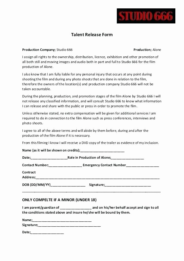 Recording Studio Contract Template Awesome Location Agreement form Film Contract Template Talent