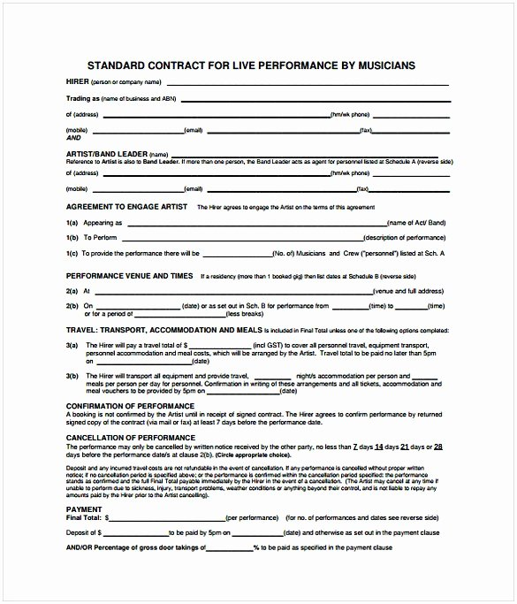Recording Studio Contract Template Beautiful Music Contract Template