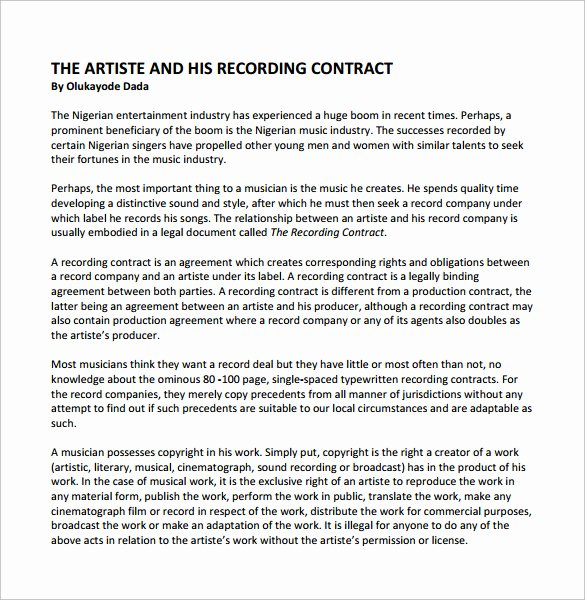 Recording Studio Contract Template New Recording Contract Template 11 Download Documents In