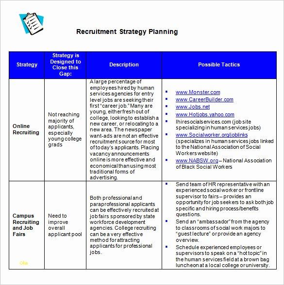 Recruiting Strategic Plan Template Lovely Beautiful Recruitment Strategy Template