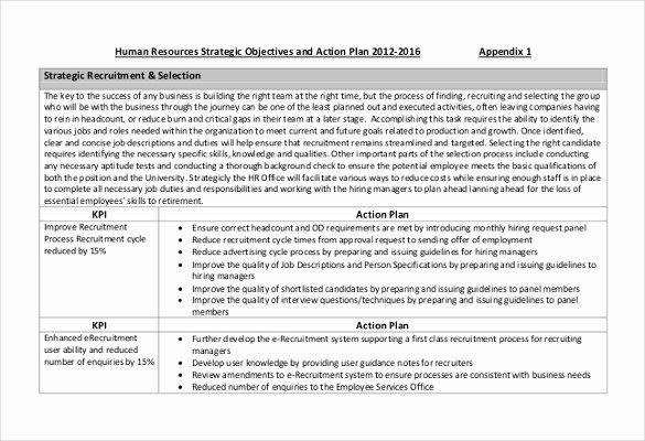 Recruitment Action Plan Template Inspirational Hr Strategy Template 31 Word Pdf Documents Download