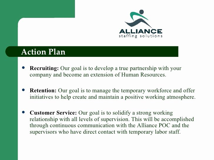 Recruitment Action Plan Template Lovely Alliance Staffing solutions Power Point Presentation