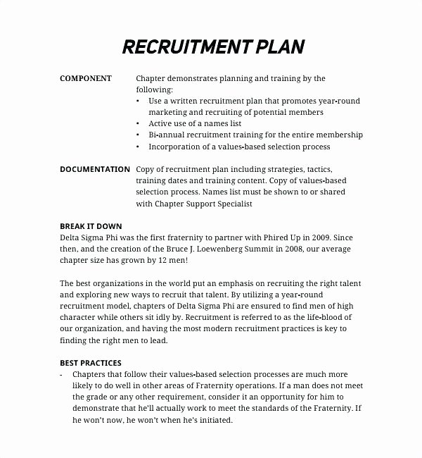 Recruitment Action Plan Template New Recruitment Plan Template Sample Recruitment Plan Action