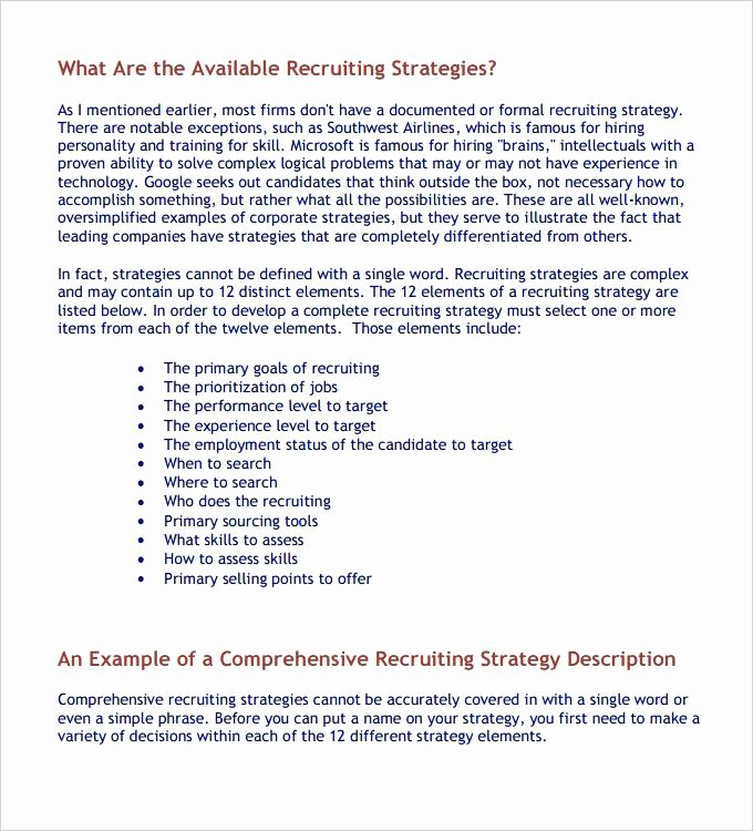 Recruitment Strategic Plan Template Inspirational Free Download Example format Recruitment Strategy Plan Doc