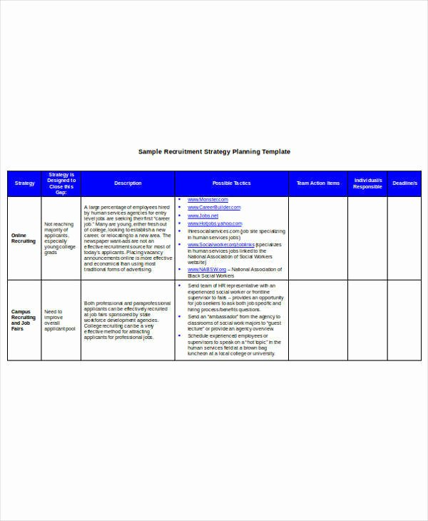 Recruitment Strategic Plan Template Luxury 9 Hr Operational Plan Samples & Templates – Pdf