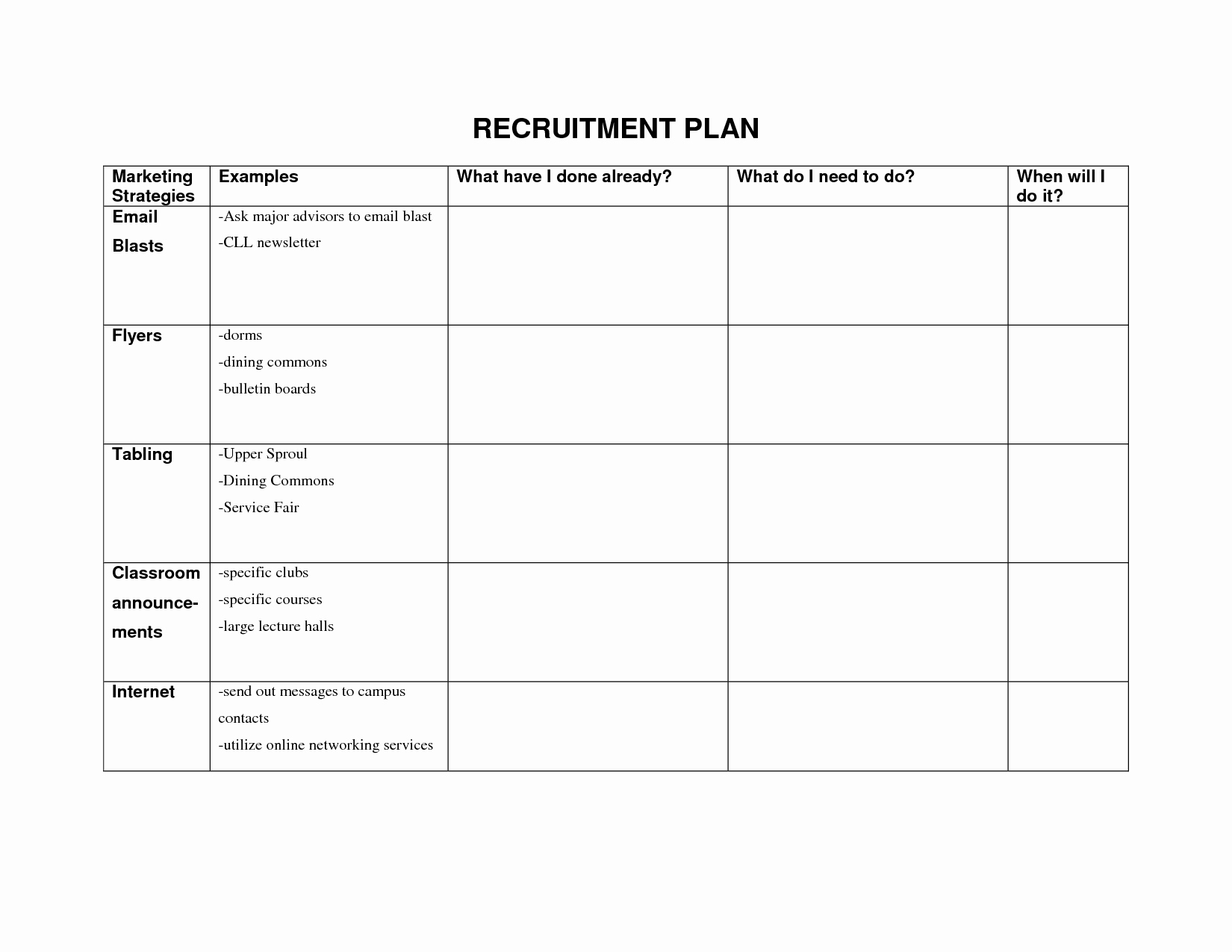 Recruitment Strategic Plan Template Luxury Recruitment forms and Templates Recruiter forms