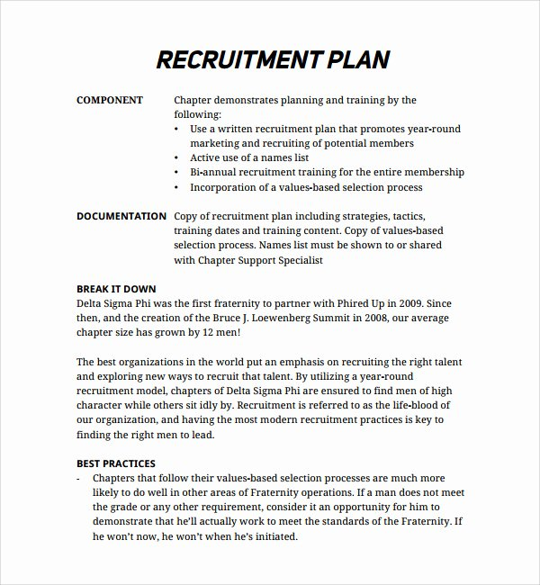 Recruitment Strategy Plan Template Best Of Recruiting Plan Examples – Emmamcintyrephotography