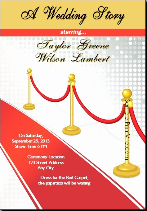 Red Carpet Invitation Template Beautiful Red Carpet Invitations Templates