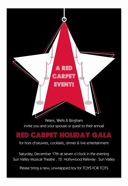 Red Carpet Invitation Template Beautiful Star Red Carpet Holiday Invitations by Invitation