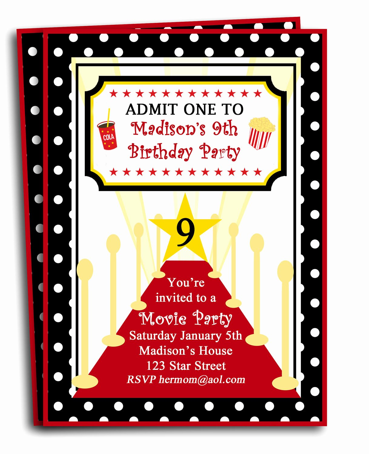 Red Carpet Invitation Template Best Of Red Carpet Party Invitation Printable or Printed with Free
