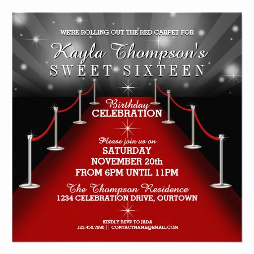 Red Carpet Invitation Template Fresh Sweet 16 Glamorous Red Carpet Party Invitations