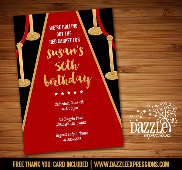 Red Carpet Invitation Template Lovely Printable Hollywood Red Carpet Birthday Invitation Movie