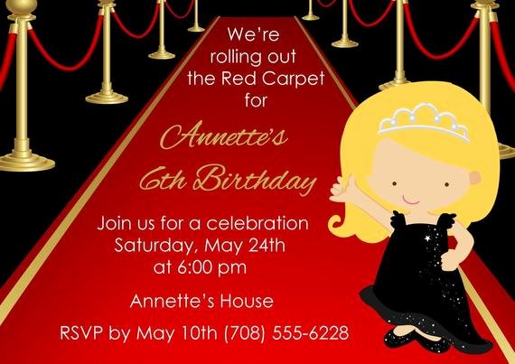 Red Carpet Invitation Template Luxury Printable Red Carpet Invitation Kids Red Carpet Birthday
