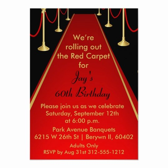 Red Carpet Invitation Template Luxury Red Carpet Invitation Hollywood theme Sweet 16