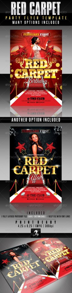 Red Carpet Invitation Template Luxury Red Carpet Party Flyer Template Print Ad Templates