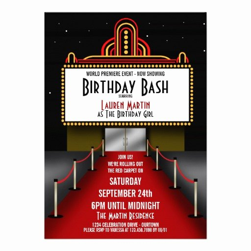 "Red Carpet Invitation Template Luxury Red Carpet theater Birthday Party Invitation 5"" X 7"