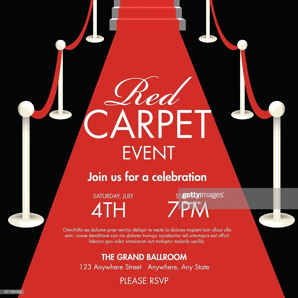 Red Carpet Invitation Template Luxury Vintage Style Red and Black Carpet event Ticket Invitation
