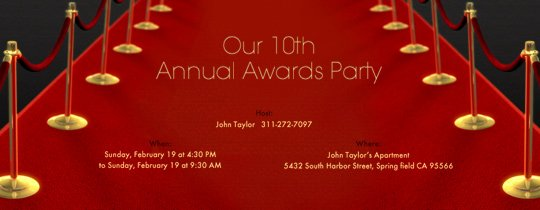 Red Carpet Invitation Template New Viewing Party Free Online Invitations
