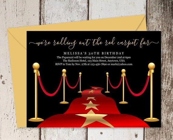 Red Carpet Invitation Template Unique Printable Red Carpet Invitation Template Hollywood theme