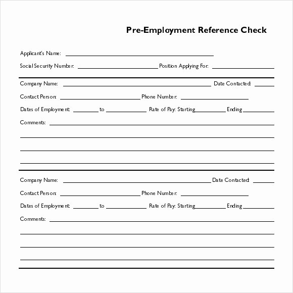 Reference Check form Template Beautiful 15 Reference Check Templates to Download for Free