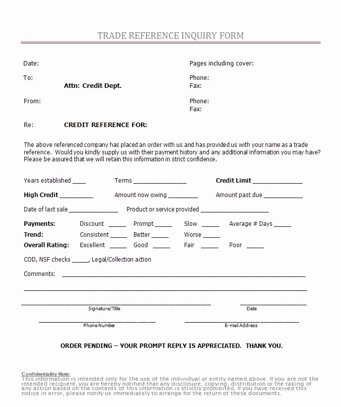 Reference Check form Template Beautiful Credit Reference form