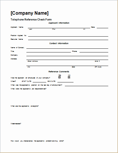 Reference Check form Template Beautiful Telephone Reference Check form Template Word