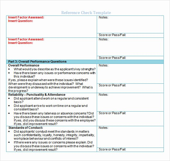 Reference Check form Template Fresh Sample Reference Check Template 14 Free Documents In