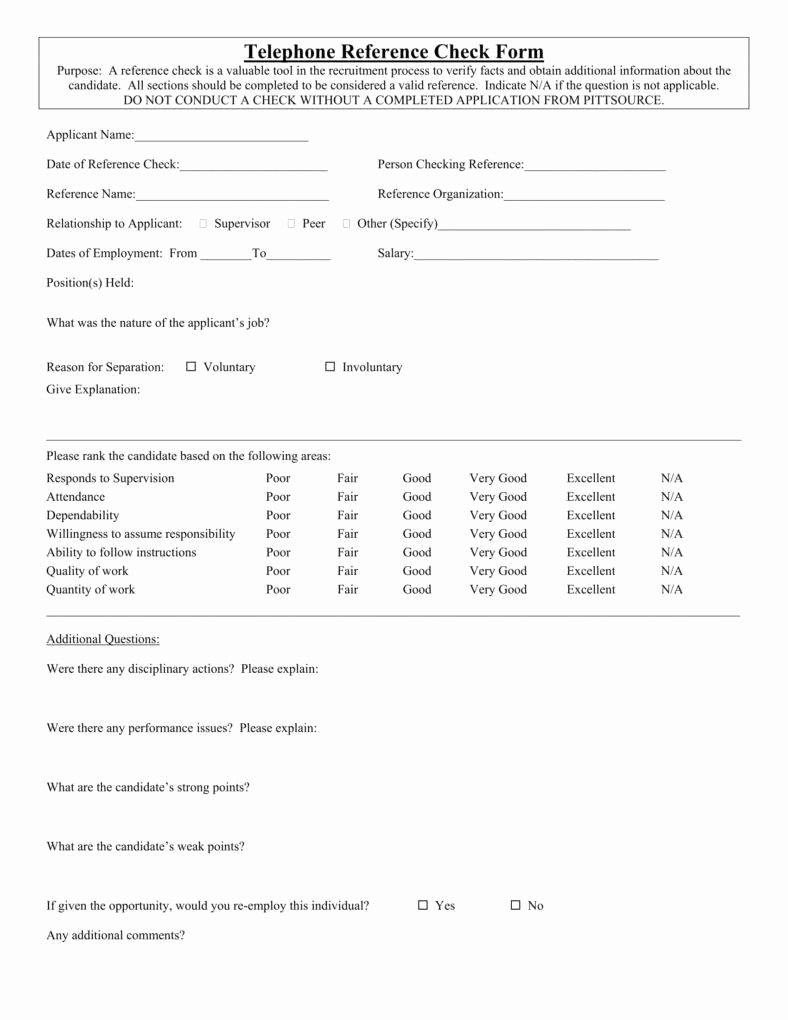 reference checking form