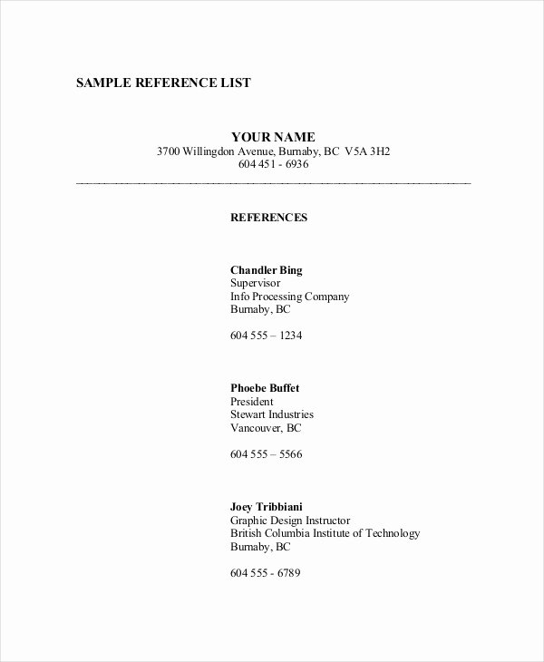 Reference List Template Word Elegant Reference List 8 Free Pdf Word Documents Download