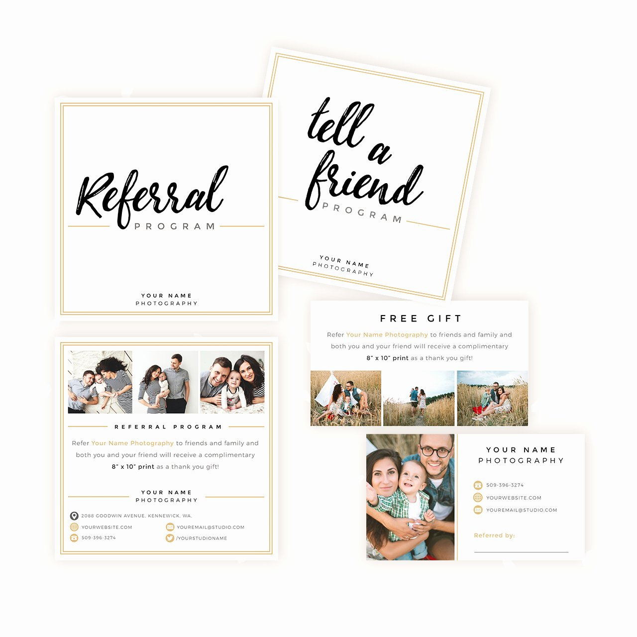 Referral Card Template Free Awesome Modern Hand Lettering Referral Card Set Strawberry Kit