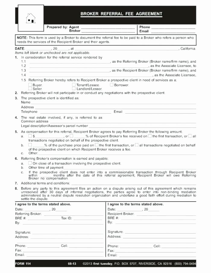Referral Fee Agreement Template Lovely Client to Do List Template Referral form Customer