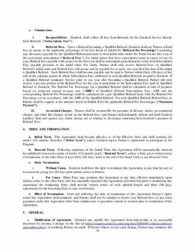 Referral Fee Agreement Template Unique Zendesk Reseller Agreement Worldwide Template Dec 1 14[3]