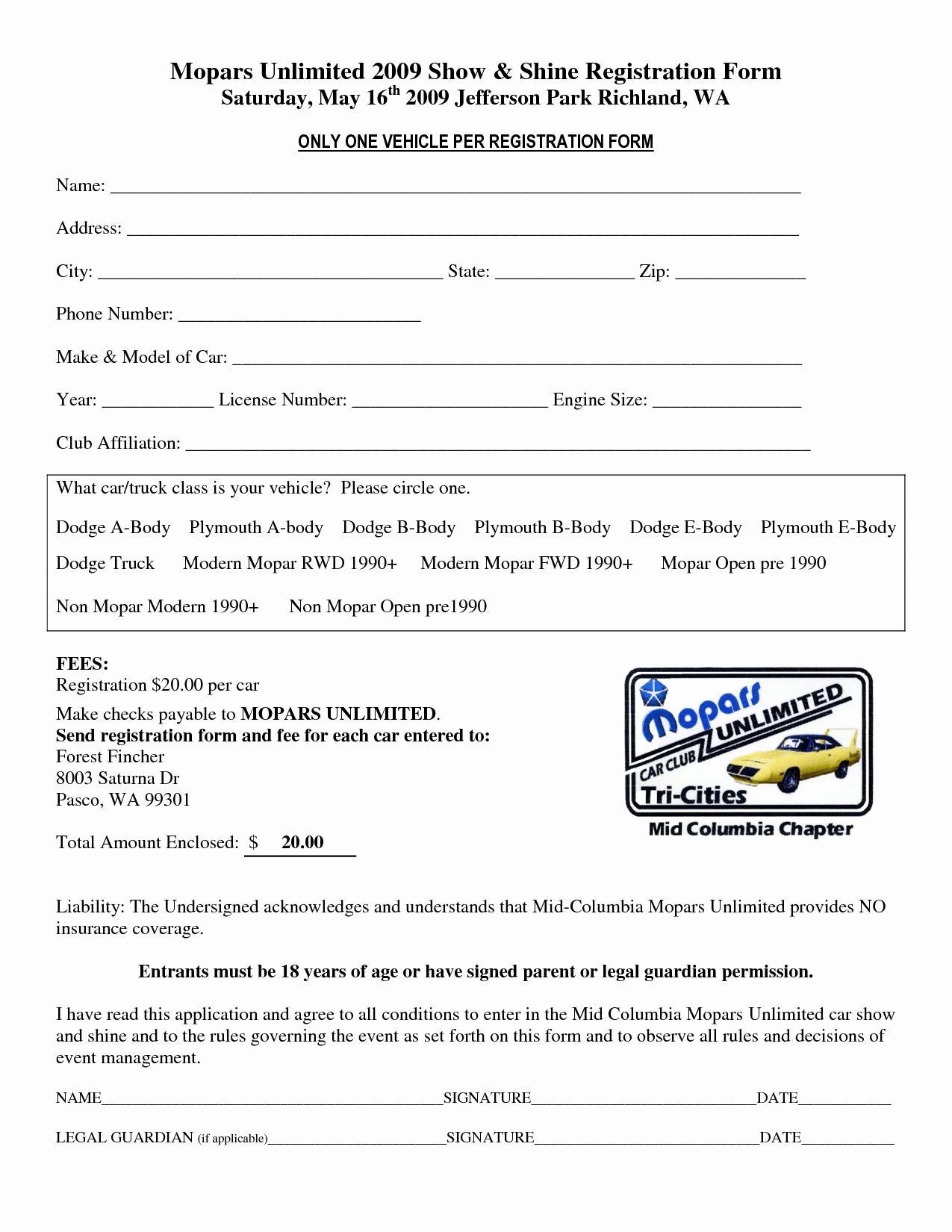 Registration form Template Word Fresh Car Show Registration form Templates