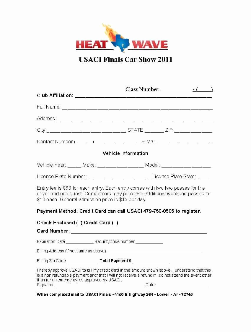 Registration form Template Word Inspirational 4 Car Show Registration form Templates – Word Templates