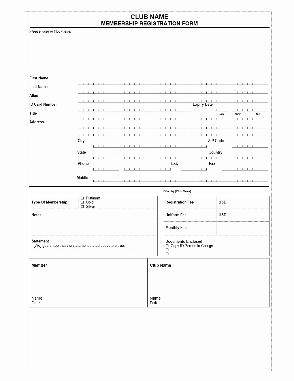 Registration form Template Word Lovely Club Membership Application form