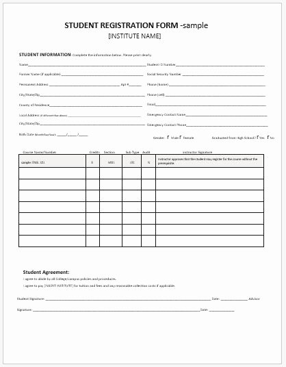 Registration form Template Word Lovely Student Registration forms for Ms Word