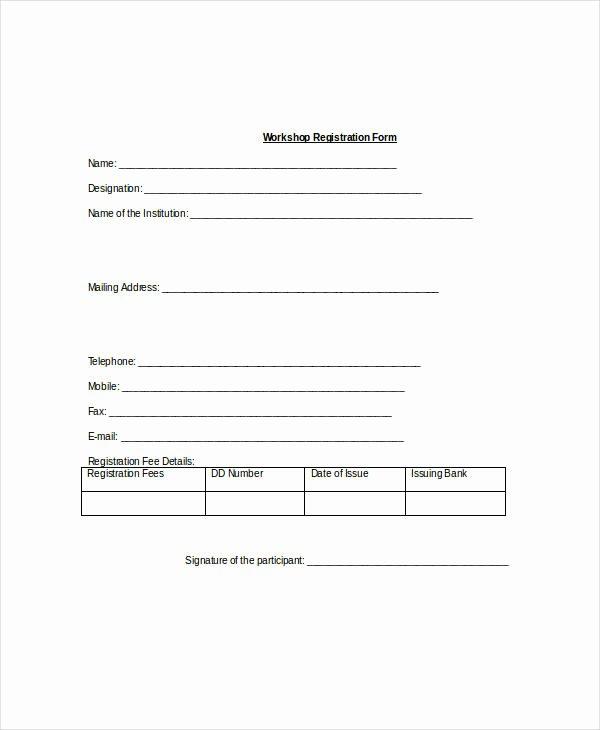 Registration form Template Word Unique Registration form Template 9 Free Pdf Word Documents
