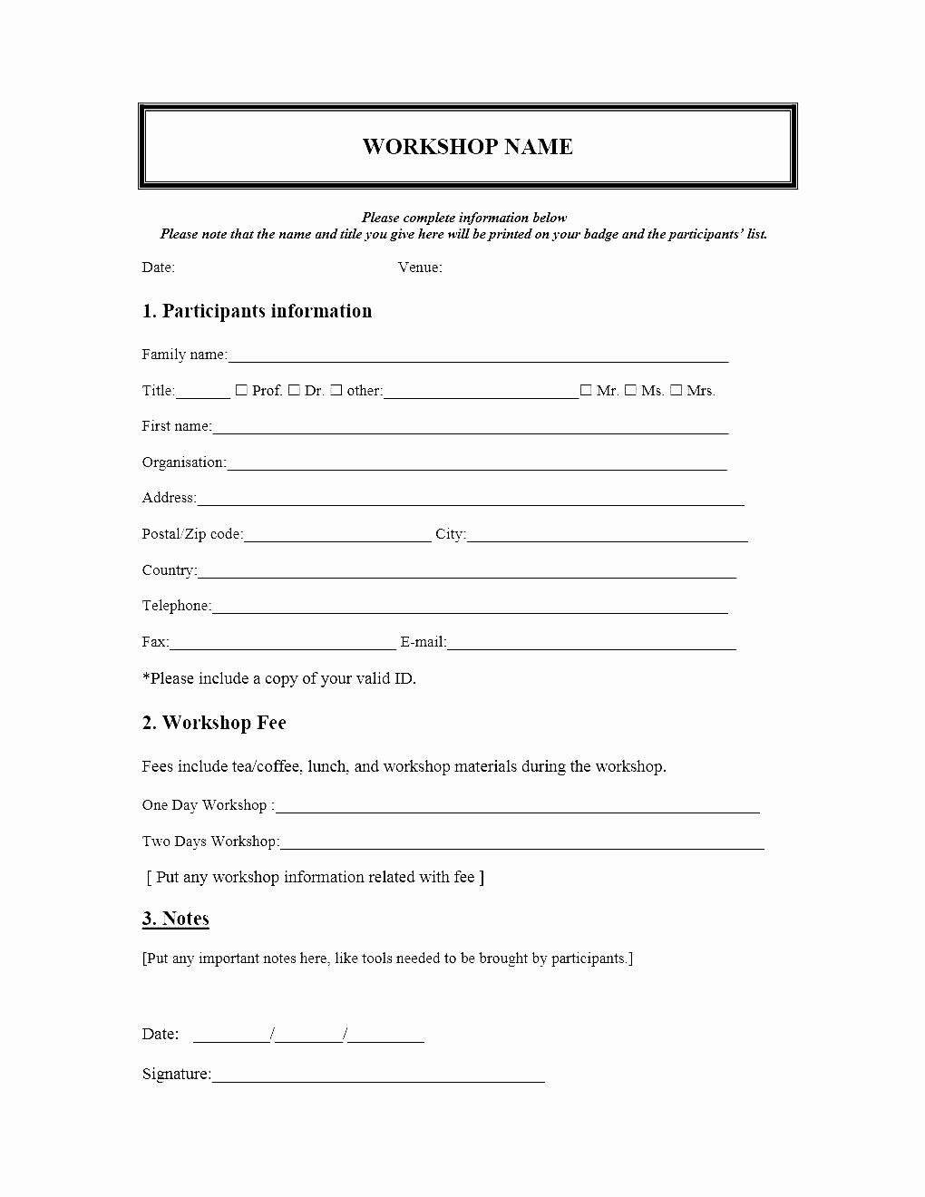 Registration forms Template Word Fresh event Registration form Template Microsoft Word
