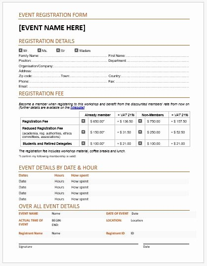 Registration forms Template Word Fresh event Registration forms & Template for Ms Word