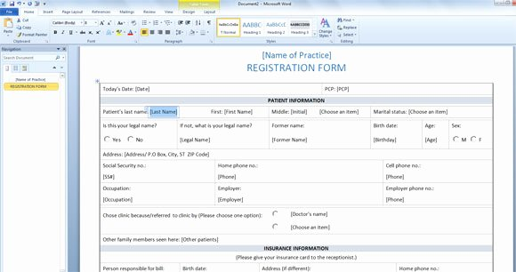 Registration forms Template Word Lovely Patient Registration form Template for Word 2013