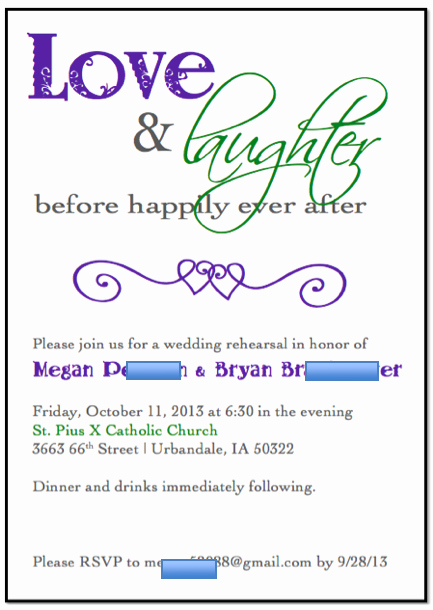 Rehearsal Dinner Invitation Template Beautiful Rehearsal Invitations Template
