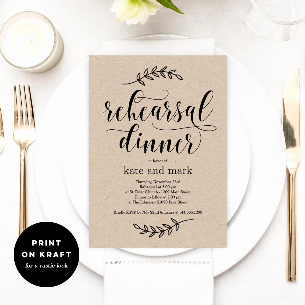 Rehearsal Dinner Invitation Template Best Of Printable Rehearsal Dinner Invitation Template Rustic