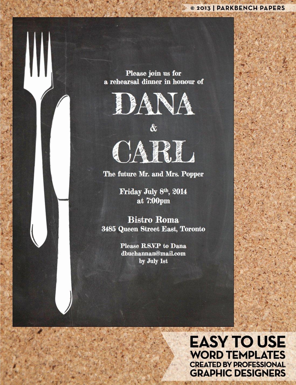 Rehearsal Dinner Invitation Template Elegant Rehearsal Dinner Invitation Chalkboard Chic Diy Word