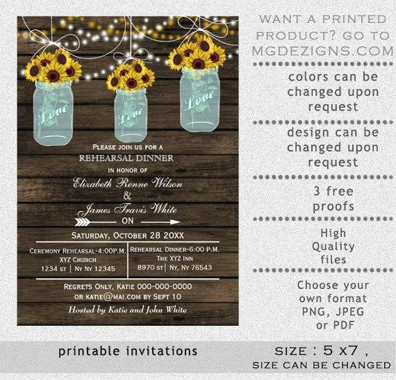 Rehearsal Dinner Invitation Template Lovely Printable Rehearsal Dinner Invitation Template Mason Jars