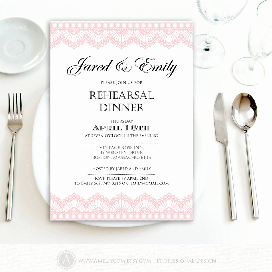 Rehearsal Dinner Invitation Template Unique Rehearsal Dinner Invitation Printable Template Pink Lace