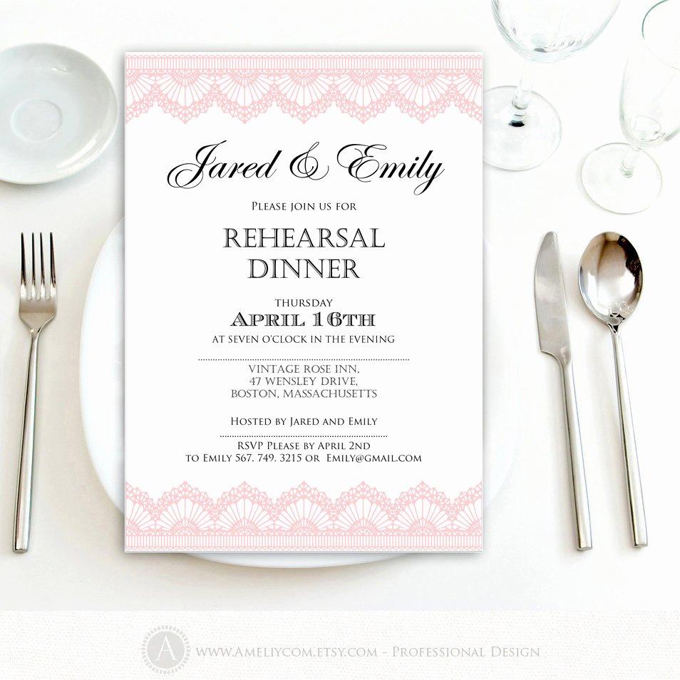 Rehearsal Dinner Invitation Template Unique Rehearsal Dinner Invitation Printable Template Pink Lace