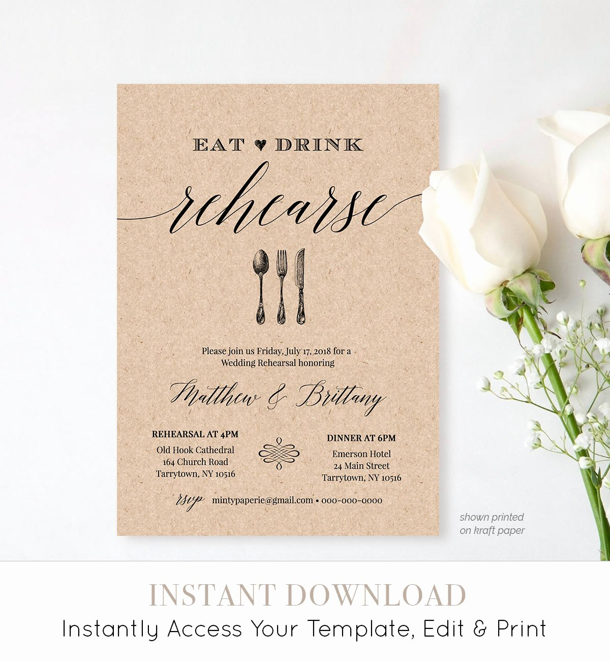 Rehearsal Dinner Invitation Template Unique Rehearsal Dinner Invitation Template Printable Rustic Wedding