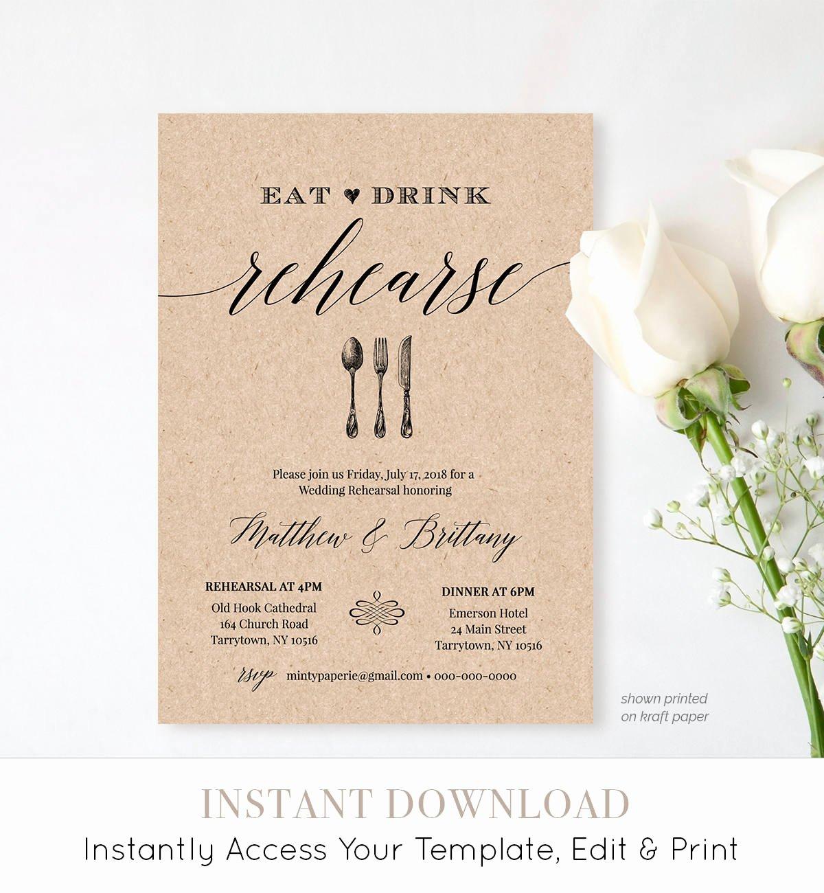 Rehearsal Dinner Invitation Template Unique Rehearsal Dinner Invitation Template Printable Rustic Wedding